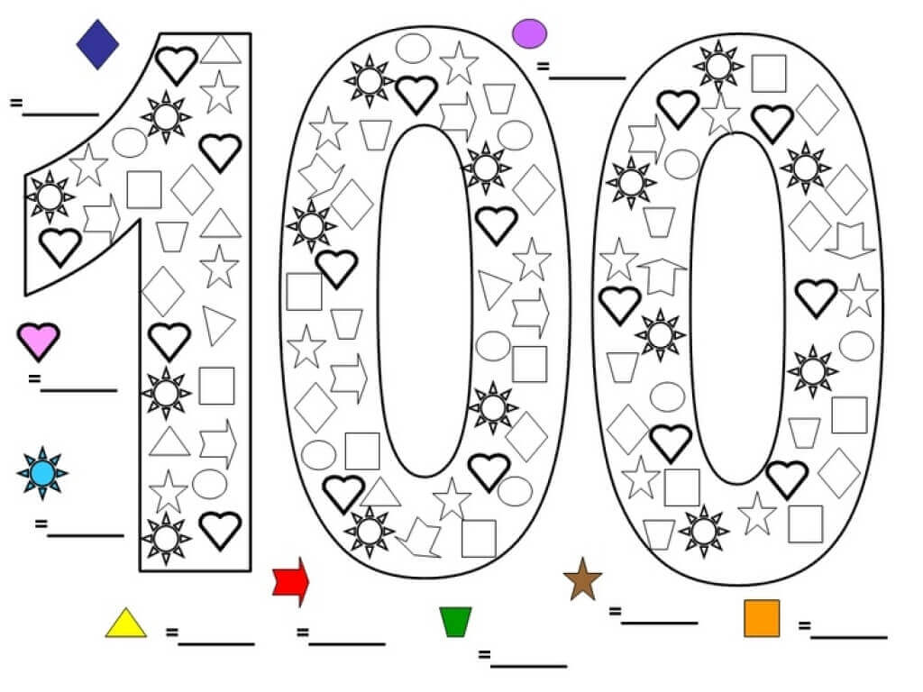 Free Printable 100 Days Of School Coloring Pages