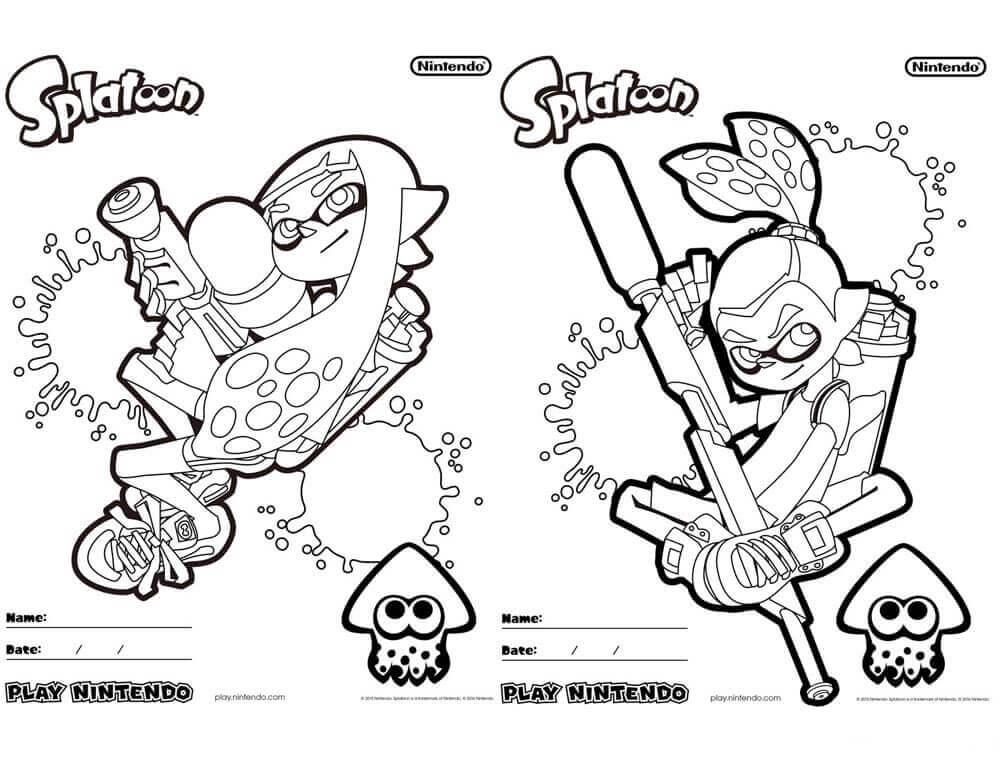 10 Free Printable Splatoon Coloring Pages