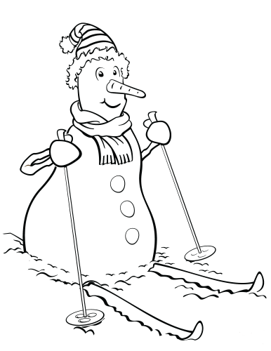 Skiing Snowman Coloring Picture To Print