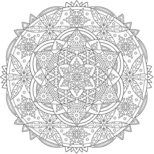 Snowflake Mandala Coloring Pages Printable