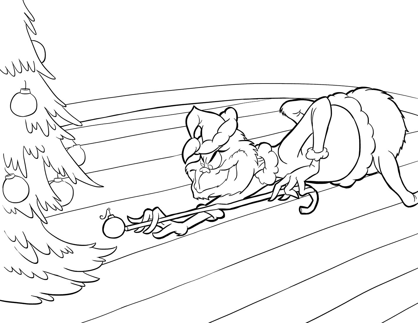 Grinch Stealing Ornaments Coloring Page