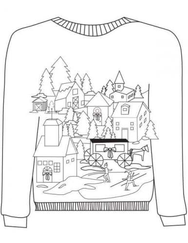 Ugly Christmas Sweater Coloring Sheets To Print