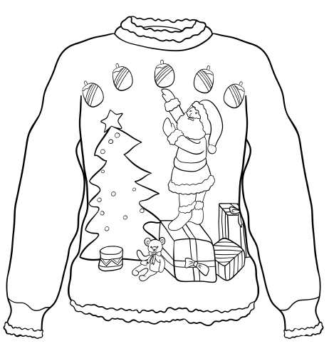 Ugly Christmas Sweater Colouring Pages