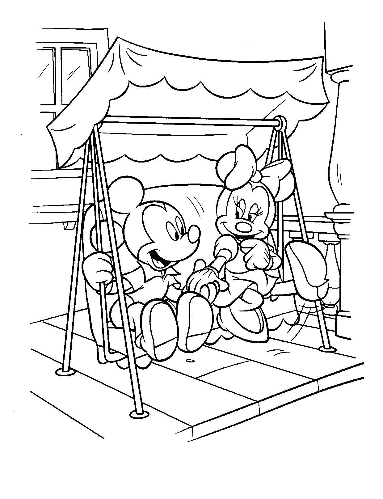 Coloring Page of Mickey and Minnie Mouse