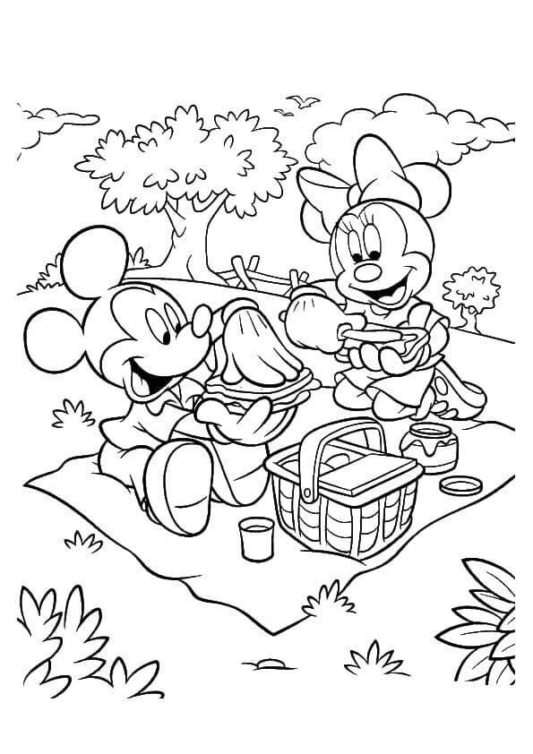 Mickey And Minnie Mouse On Picnic