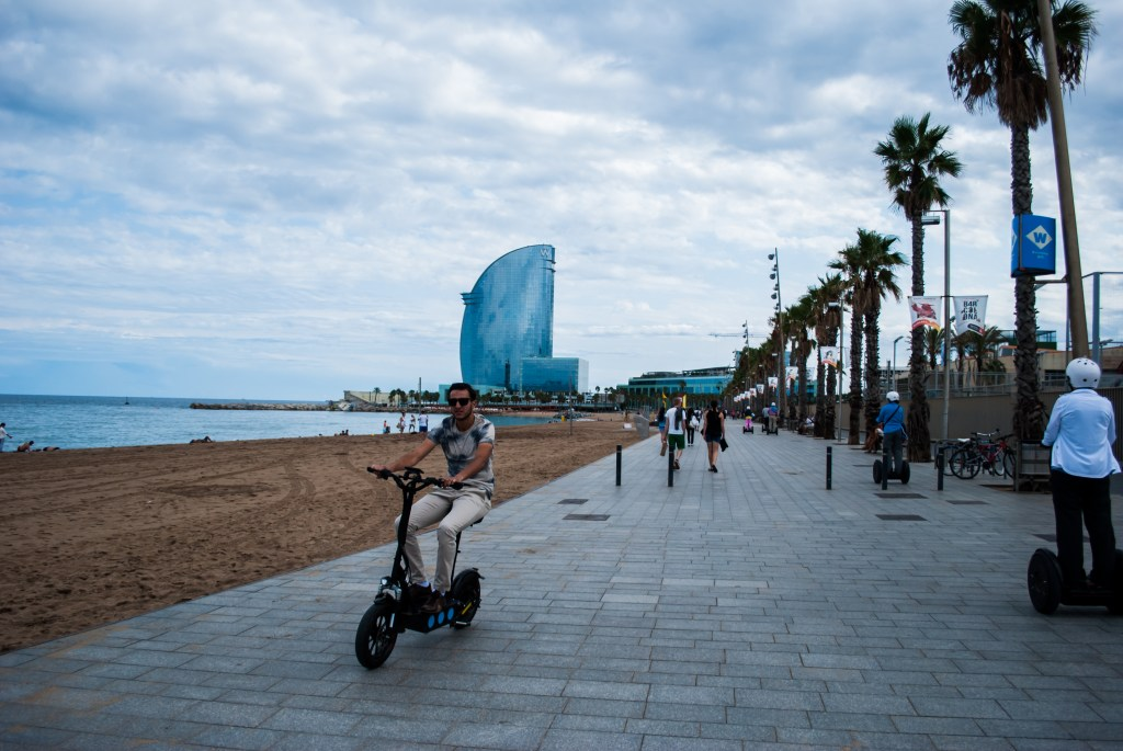 Barcelona beachfront on a rainy day