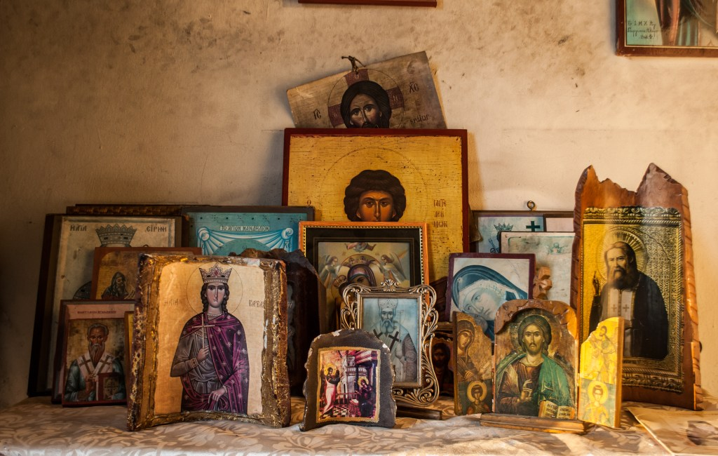 Icons of saints in a tiny little church
