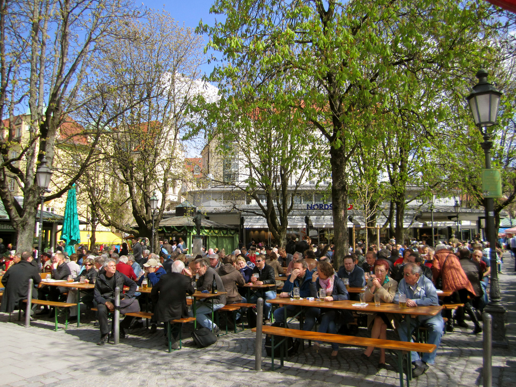 Part of the beer garden at the Viktualienmarkt