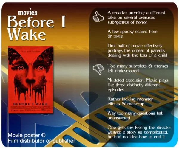 Before I Wake review. 3 thumbs up and 5 thumbs down.