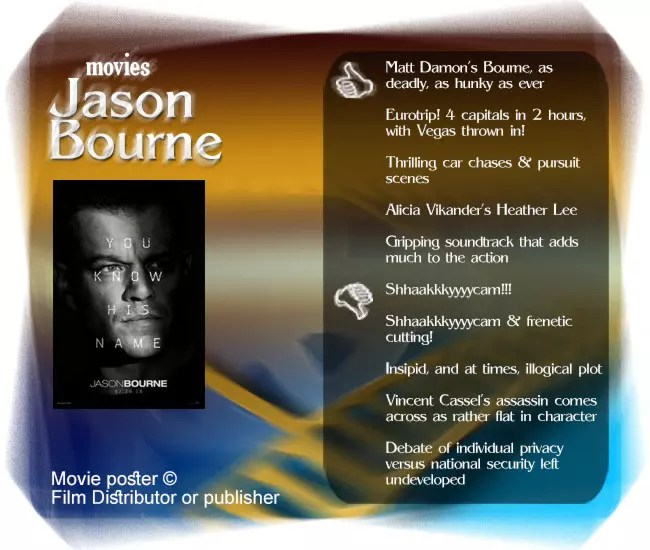 Jason Bourne movie review. 5 thumbs up and 5 thumbs down.