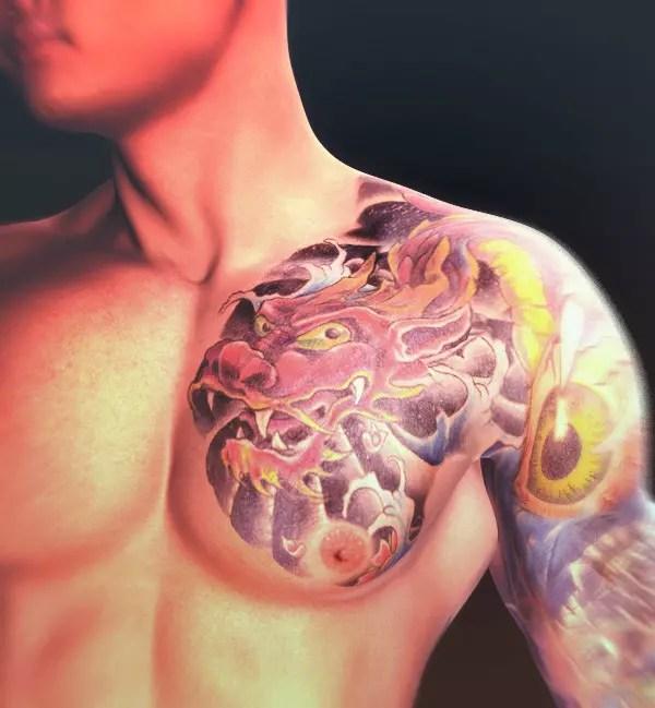Dragon tattoo on a triad member