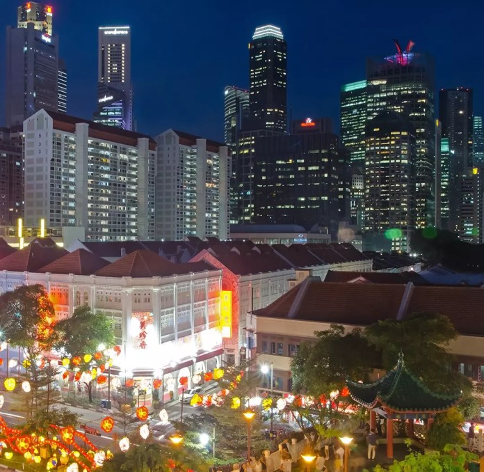 Singapore Financial District and Chinatown.