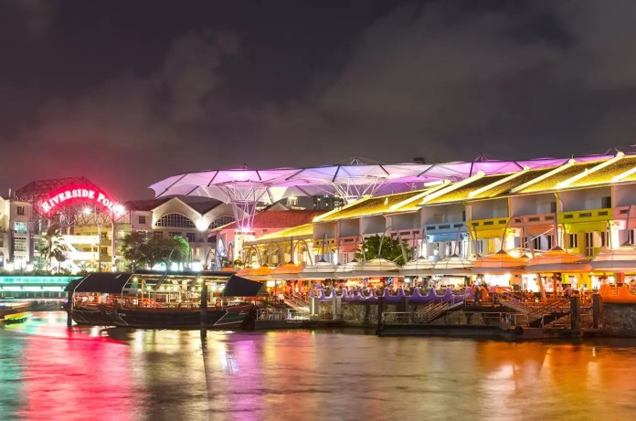 Clarke Quay evening photo.