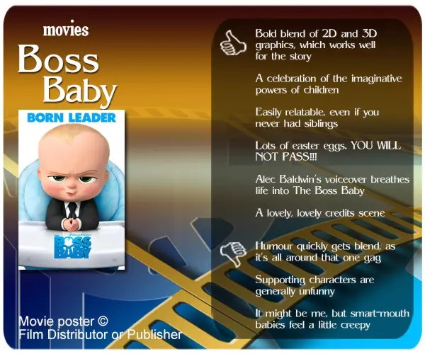 Boss Baby review - 6 thumbs up and 3 thumbs down.