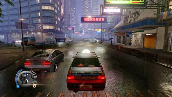 Sleeping Dog Taxi and Rainy Evening Screenshot
