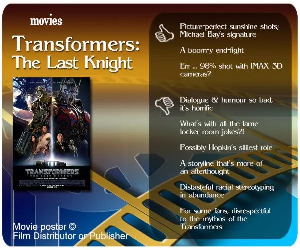 Transformers: The Last Knight review - 3 thumbs up and 6 thumbs down.
