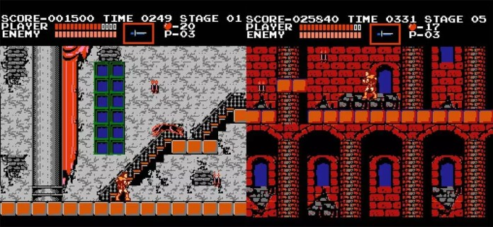 Stage 1 and 2 of Castlevania for the NES.