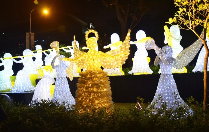 Cathedral of the Good Shepard outdoor display during Singapore Night Festival 2017.