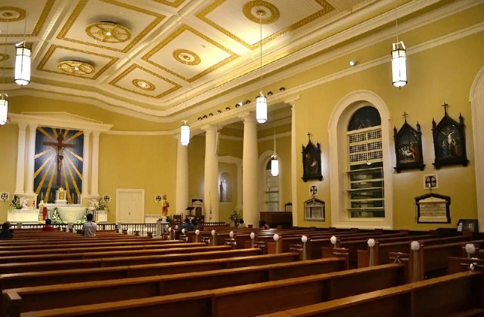 Interior of Cathedral of the Good Shepherd, Singapore.