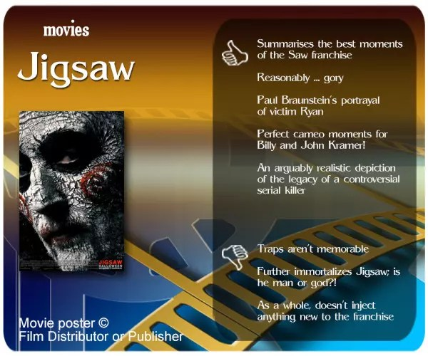 Jigsaw movie review - 5 thumbs up and 3 thumbs down.