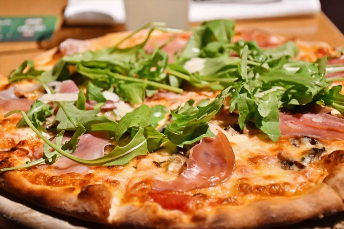 Wildfire Pizzabar and Grill Parma Ham and Mushroom pizza.