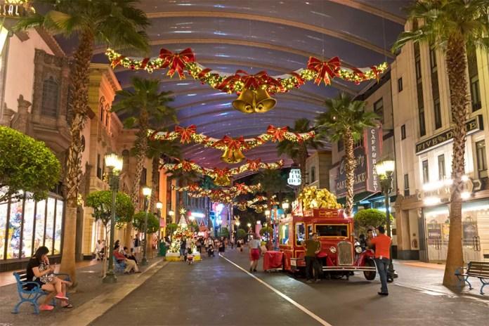 Universal Studios Singapore Hollywood Zone at night.