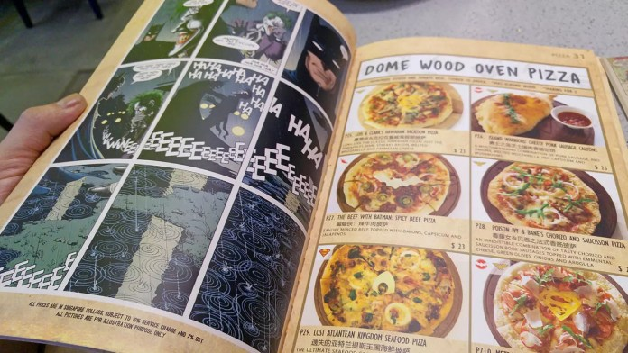 DC Super Heroes Cafe Pizza Menu.