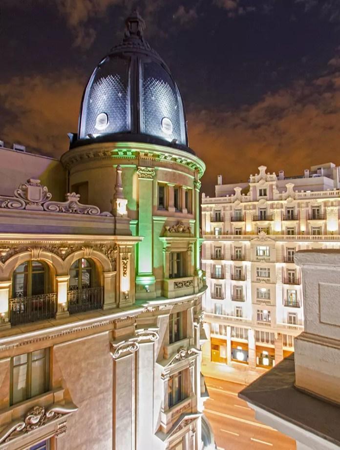 Madrid Gran Via Architecture Night Shot