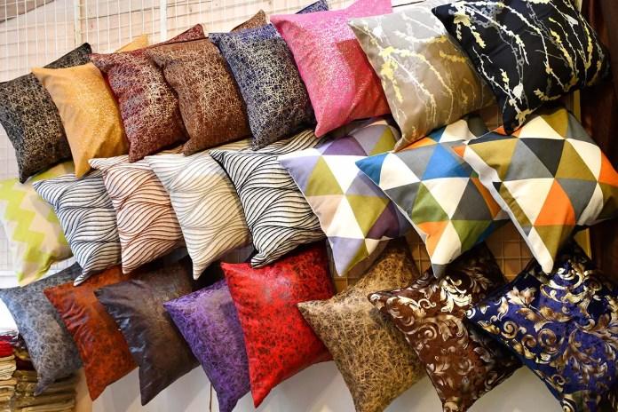 Geylang Serai Ramadan Bazaar 2018 - Colorful Cushions on Sale.