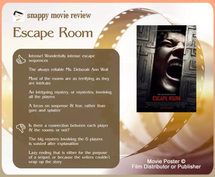 Escape Room Film Review: 5 thumbs up and 3 thumbs down.