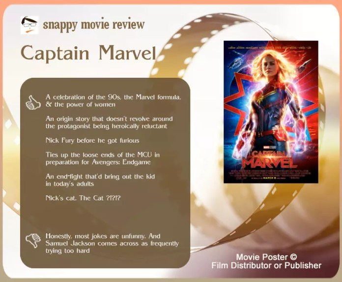 Captain Marvel Movie Review: 6 thumbs-up and 1 thumbs-down
