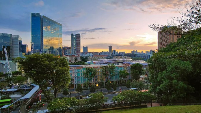 Clarke Quay evening shot from Fort Canning Hill