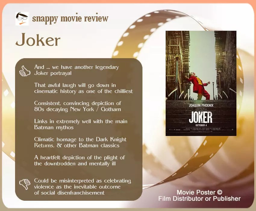 Joker (2019 Film) Review: 6 thumbs-up and 1 thumbs-down