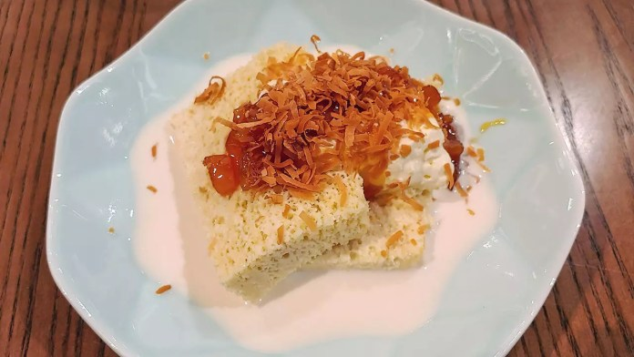 Tres Leches Coconut Sponge Cake Desert at Tonito Latin American Kitchen