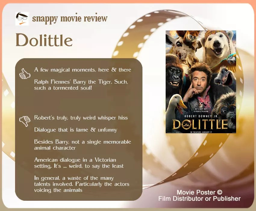 Dolittle Movie Review: 2 thumbs-up and 5 thumbs-down.