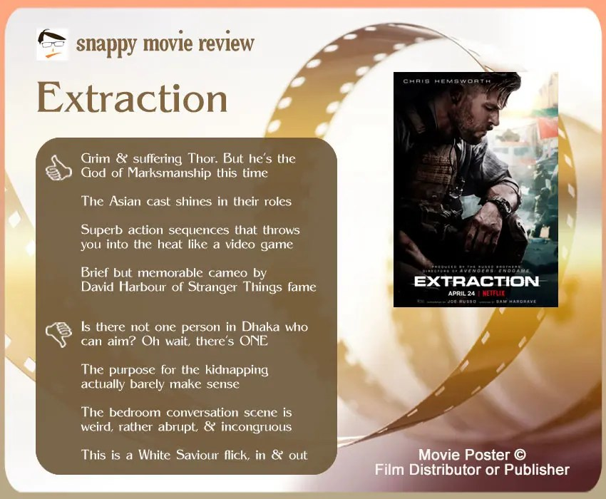 Extraction Movie Review: 4 thumbs-up and 4 thumbs-down.