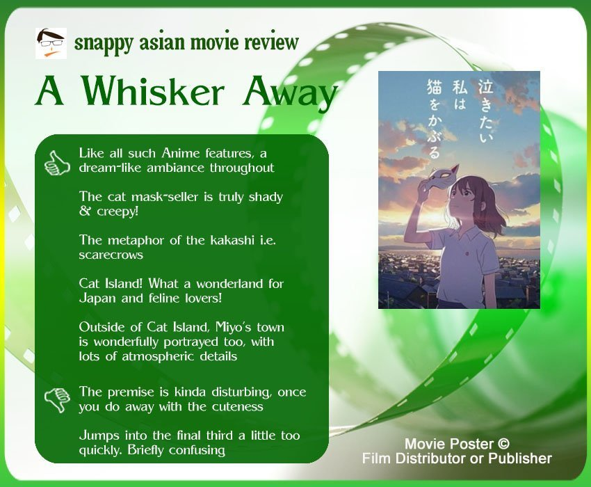 A Whisker Away (泣きたい私は猫をかぶる) Review: 5 thumbs-up and 2 thumbs-down.