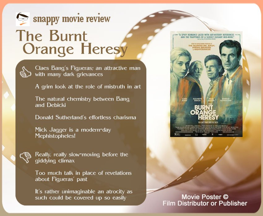 The Burnt Orange Heresy Review: 5 thumbs-up and 3 thumbs-down.