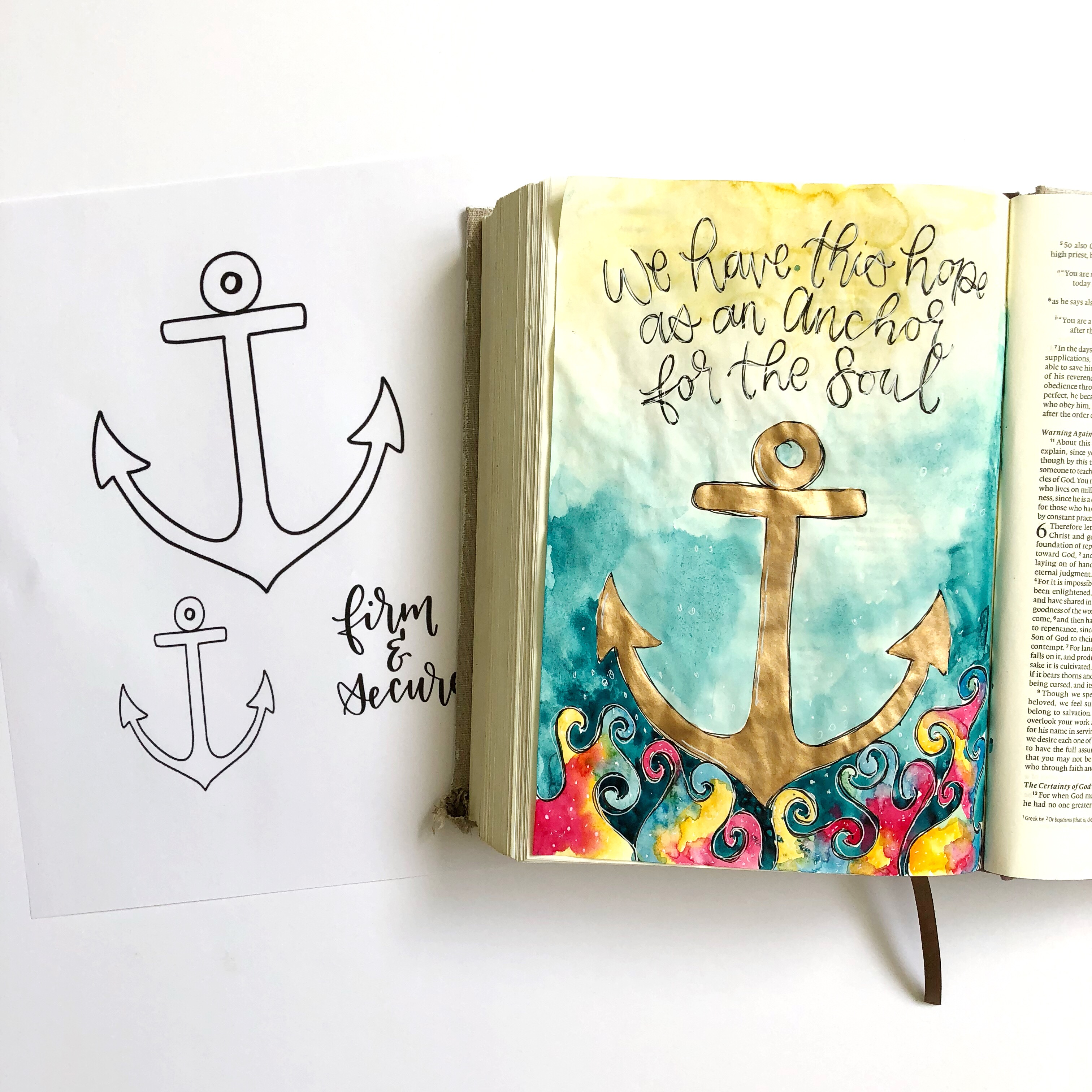 graphic regarding Printable Anchor titled Watercolor Anchor- Bible Journaling With Me- Moreover A No cost