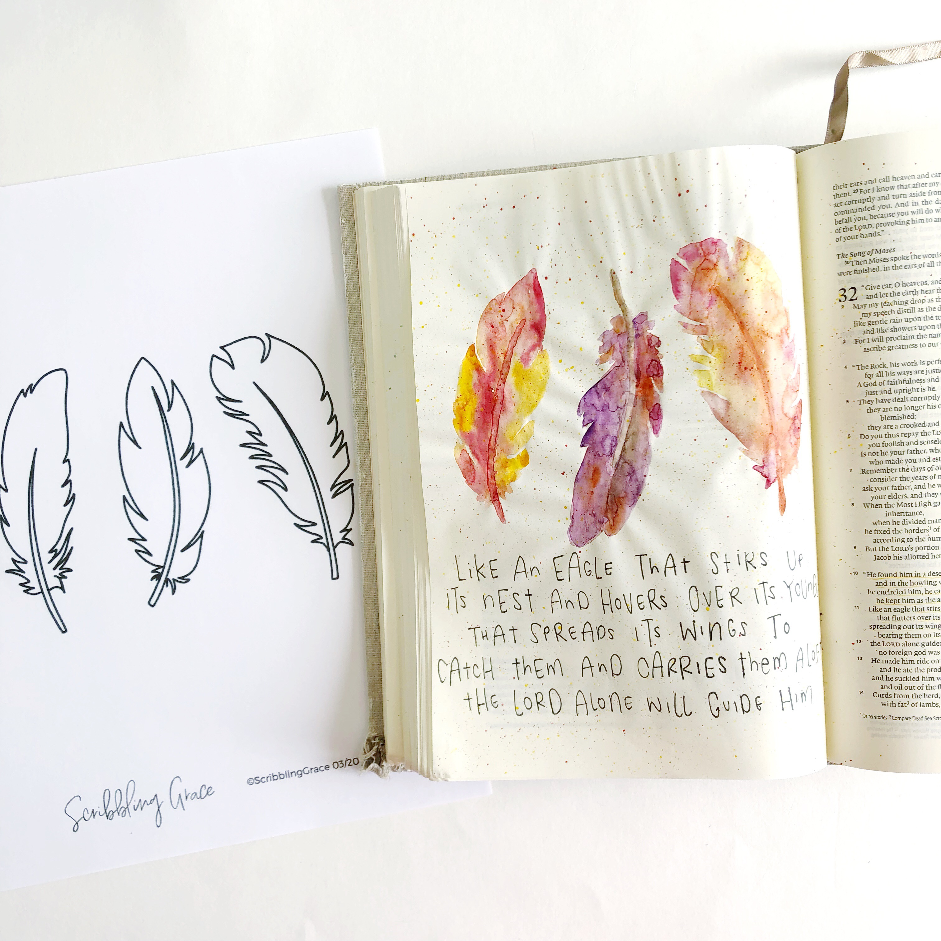 photograph relating to Feather Printable referred to as Watercolor Feathers- Bible Journaling With Me- Additionally A Totally free