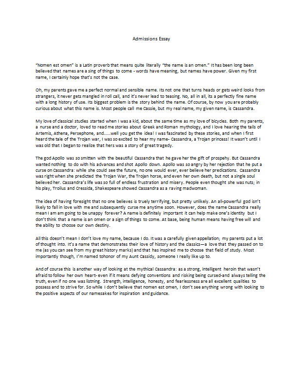 personal essay for graduate admissions