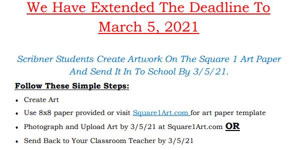 Square 1 Art Deadline has been extended