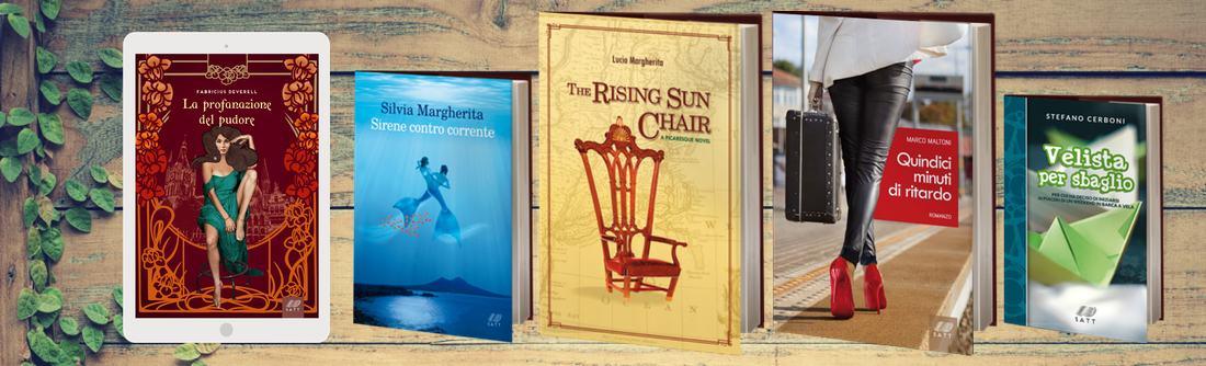 Una copertina di eBook, alcune copertine di libri cartacei