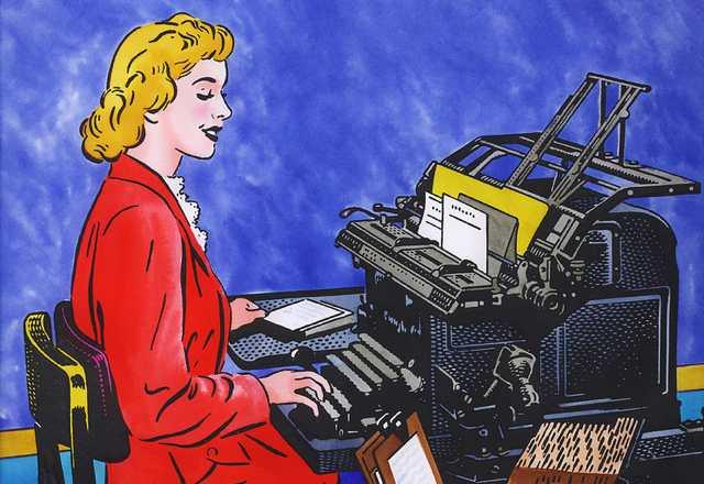 Illustrazione - donna alla macchina da scrivere. Cartella editoriale