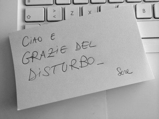 grazie del disturbo - post it | Scrivopositivo