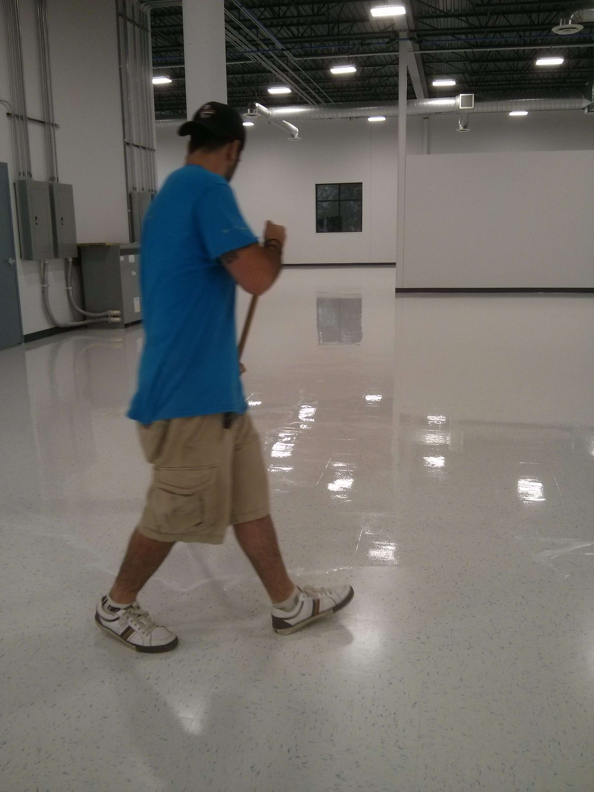 We Used A T Bar Finish Applicator On This Twin Cities 13,000 Square Ft. VCT  Vinyl Tile Floor