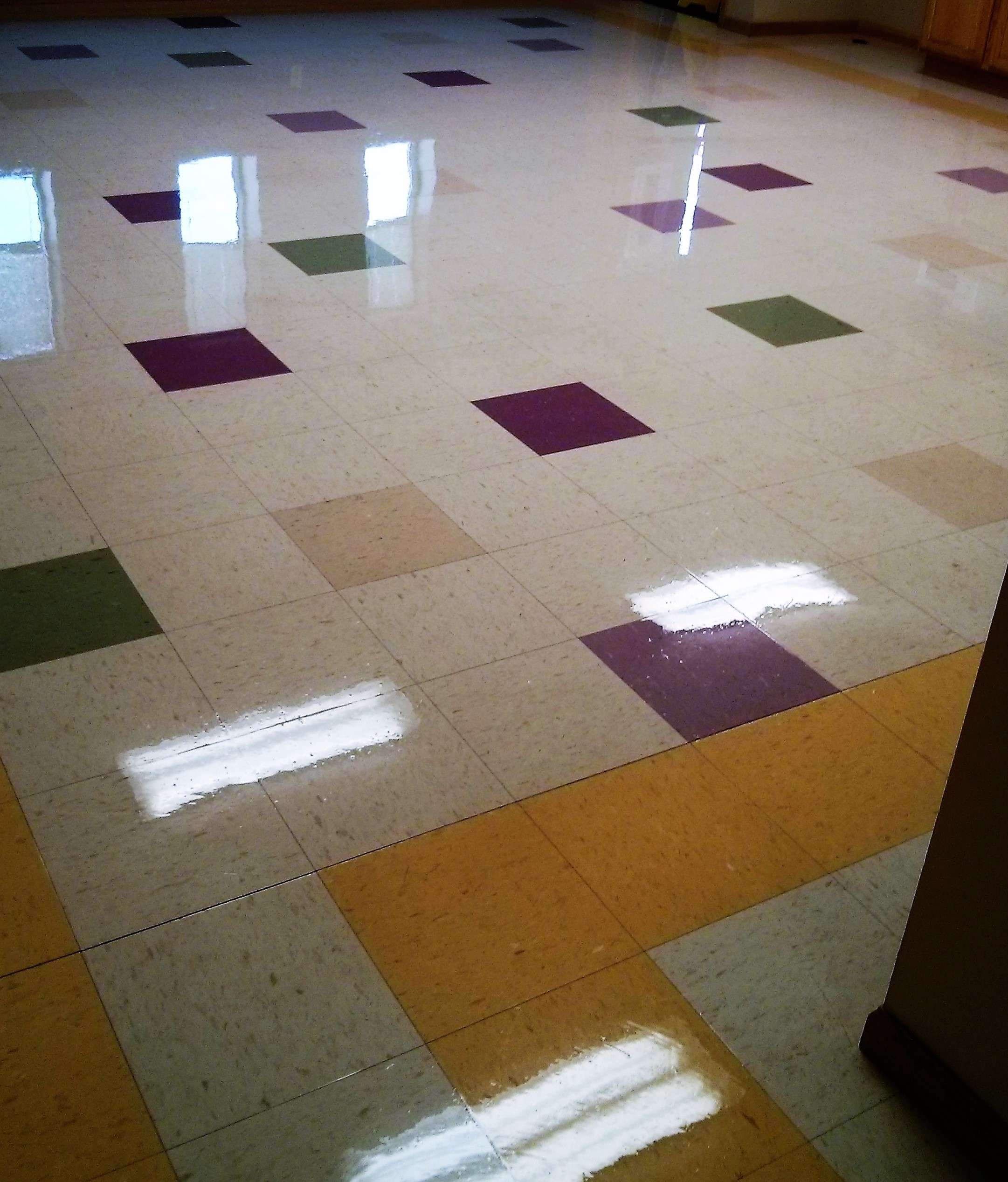 VCT Vinyl Tile Floor Really Pops After Deep Scrub And Recoat - Discount tile mn