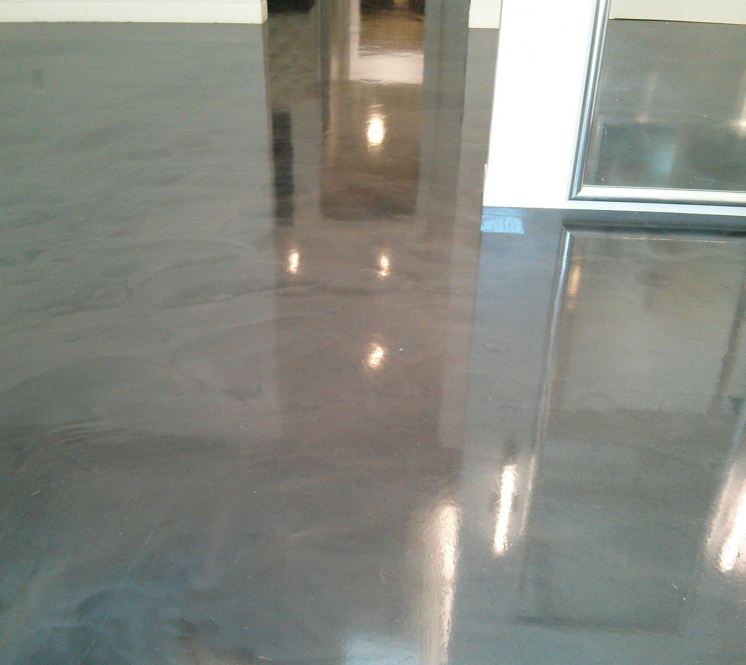 Clear Coat Cement : Polished concrete floor gets much needed scrub and recoat
