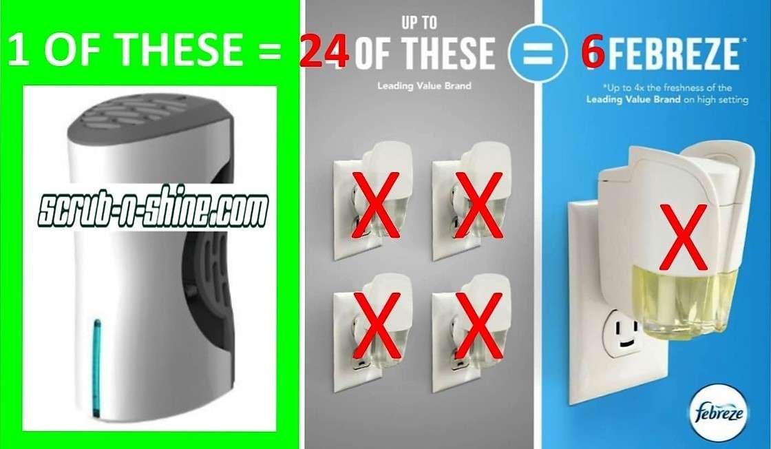 1 SCRUB N SHINE DEODORIZER equals 24 Plug Ins