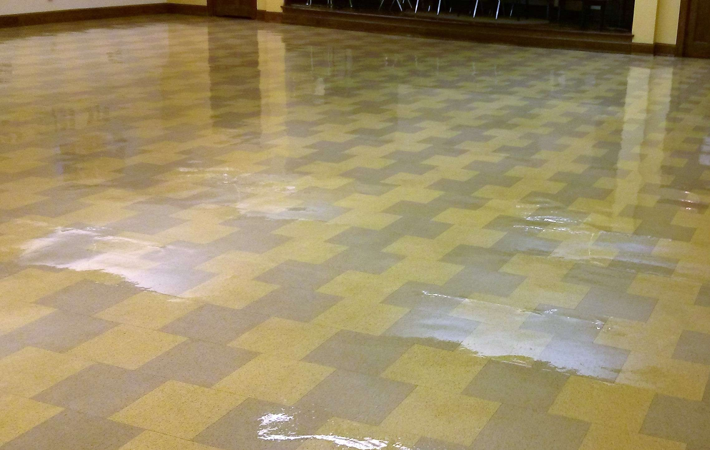 Restore shine to vinyl floor of old vct floor tile in minneapolis old vct floor tile stripped sealed finished in minneapolis banquet room dailygadgetfo Gallery